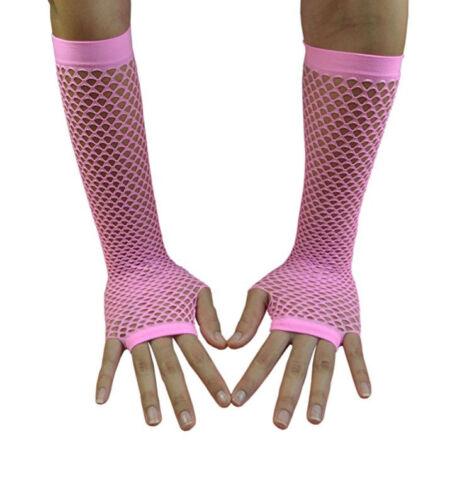 Fishnet Fingerless Gloves Elbow Length Net Gloves Neon Black Blue Pink US Seller