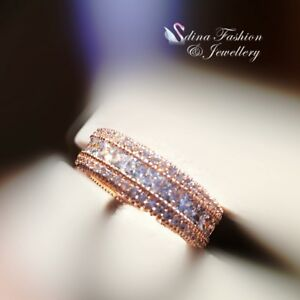 18K-White-amp-Rose-Gold-GF-Made-With-Swarovski-Element-Luxury-Channel-Set-Band-Ring