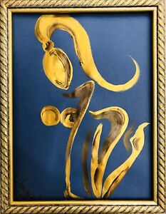 Margarita Bonke Malerei PAINTING abstract abstrakt erotic EROTIK akt nu A3 Gold