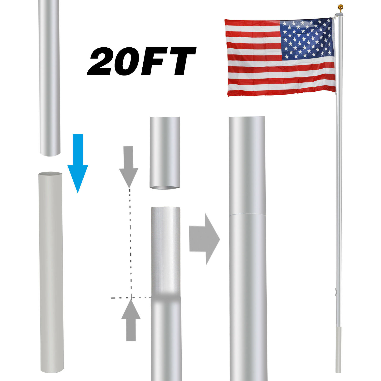 3'x5' US Flag Kit with 20-Foot Flag Pole Halyard Aluminum In