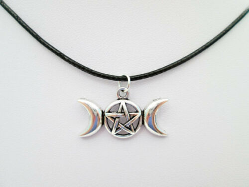 NEW SILVER PENTACLE PENTAGRAM WICCAN TRIPLE MOON GODDESS PENDANT CHARM NECKLACE