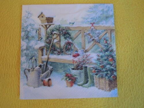 5 servilletas invierno banco de jardín pájaros Casa serviettentechnik nieve la navidad