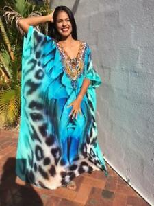 NEW Embellished Long Kaftans Plus Size O/S Size14- 26 Aqua Cheetah Print Viscose