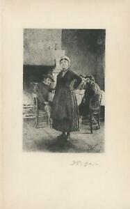 ANTIQUE VICTORIAN GIRL KITCHEN DINNER COTTAGE CROSS REMARQUE ETCHING ART PRINT