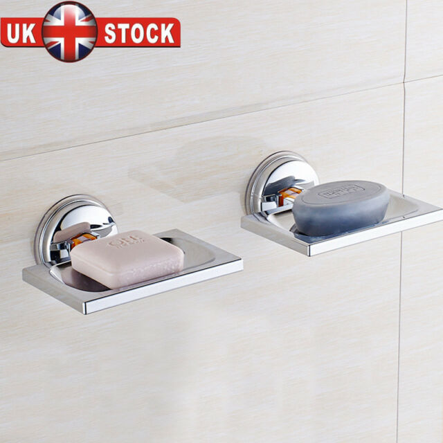 Beau UK Non Rust STRONG Suction Stainless Steel Bathroom Shower Soap Dish Holder  Rack