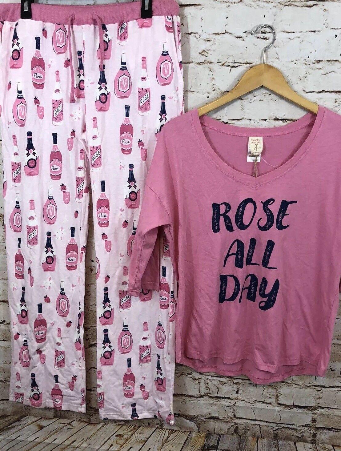 Munki Munki pajamas Womens XL pink All Day Wine Pink Pants shirt Set new M8