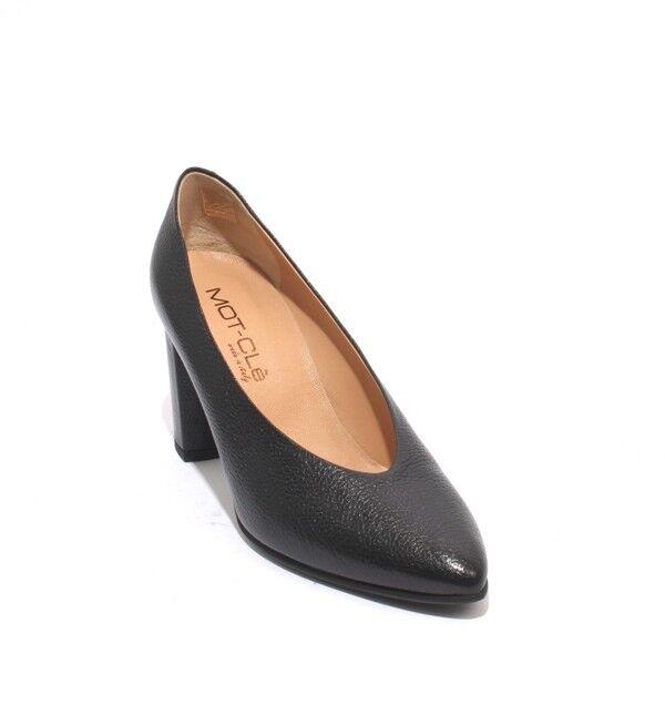 Mot-CLe 600w Negro Cuero Cuero Cuero Pointy Pumps Tacón Zapatos profundo Vamp 40 US 10  ofrecemos varias marcas famosas