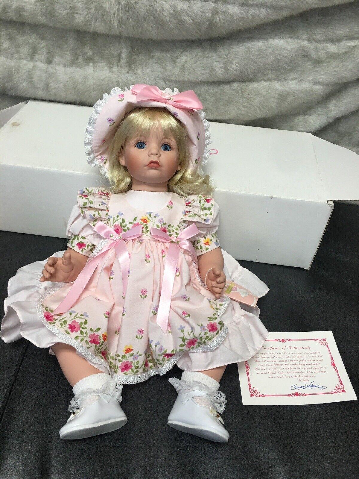 Nuevo En Caja cert. de autenticidad Susan Wakeen am 19  muñeca numerada 152 300 Cabello Rubio Ojos Azules