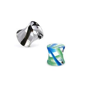 Cristal-Flesh-Tunnel-Plug-Double-Flared-Tapon-Piercing-Oreja-Oido-Tubo-Pendiente
