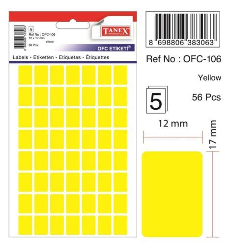 560 Etiketten gelb TANEX OFC-106 Vielzweck Etiketten farbig 12 x 17 mm