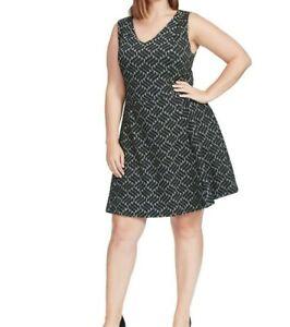 Renee-C-Sleeveless-Ponte-Knit-Grey-Geometric-Fit-And-Flare-Dress-Size-XL