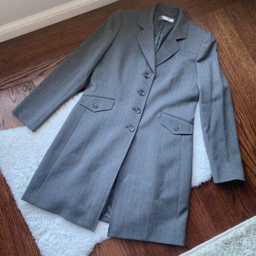 Womens VINTAGE Tahari Gray Grey Long Blazer Jacket