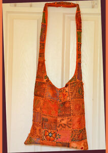 Hand-Made-Vintage-Embroidered-Patches-Sling-Bag-Shoulder-Bag-in-Tangerine-Color