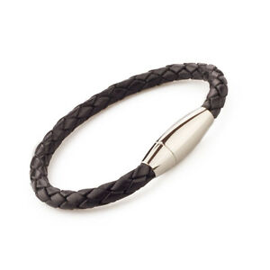 Unisex-Braided-Leather-Stainless-Steel-Magnetic-Clasp-Bracelet-Black-SAME-DAY-SH