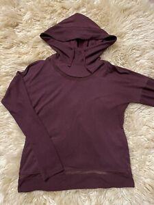 Yogalicious slouchy yoga hoodie sweatshirt stretchy soft hooded Wine Color Sz M