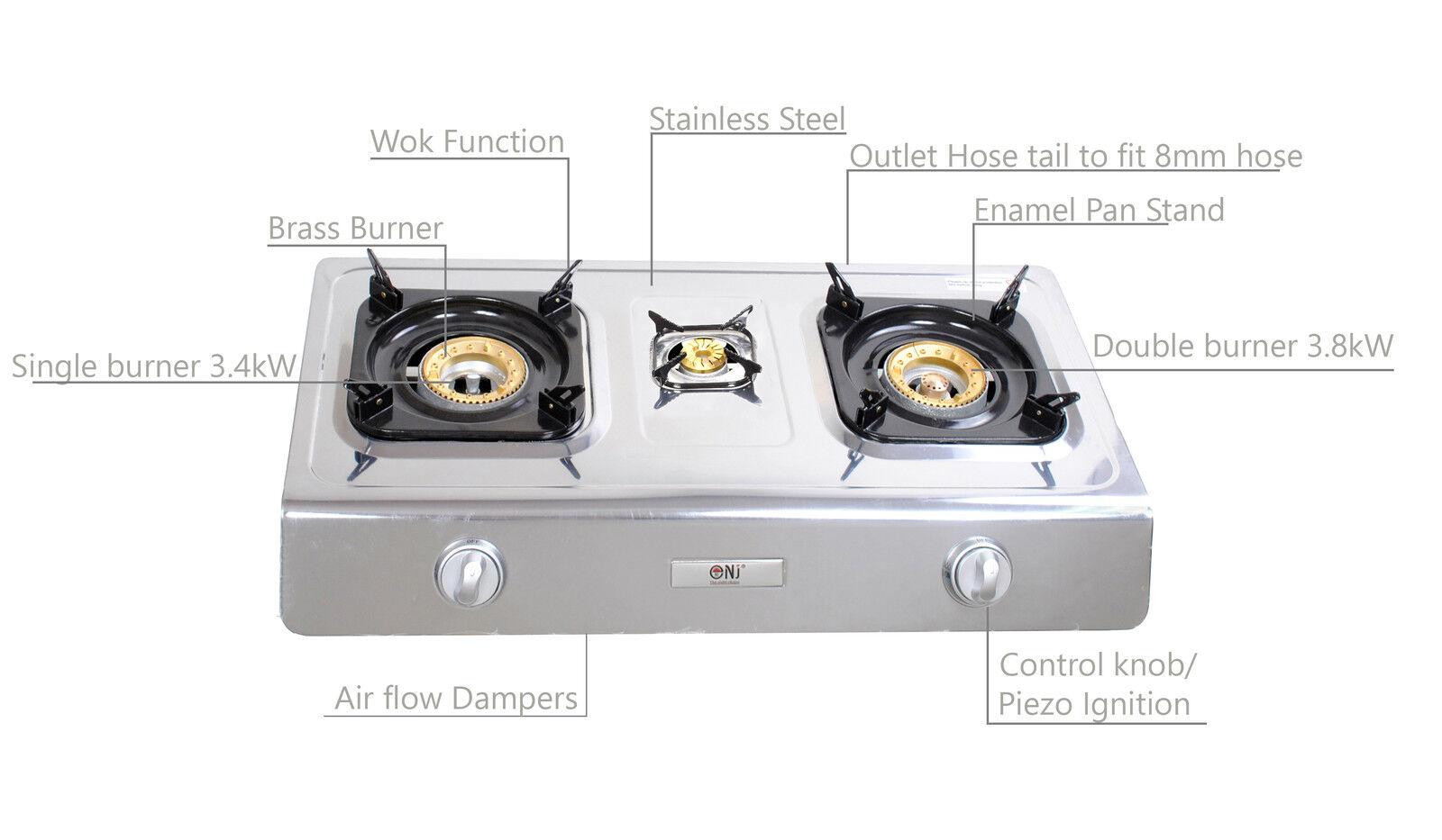 NJ NGB-300C estufa de gas de 3 Quemadores 70cm Tapa LPG Portable Camping al aire libre LPG Tapa Wok 8kW Nuevo dd097c