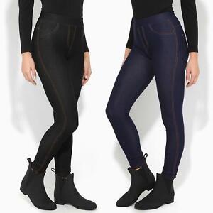 Jegging-Taille-Haute-Femme-Jean-Stretch-Legging-Noir-Bleu-Poche-Extensible-Mode