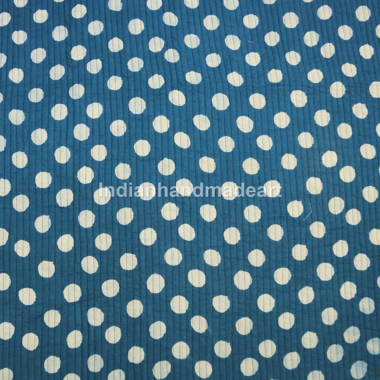 Kantha Quilt Pure 100% Cotton Hand stitched Queen Size Indigo bluee Indian Quilt
