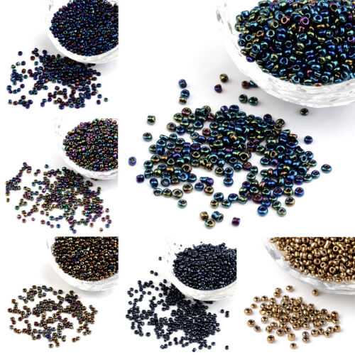 100 g Électroplaqué Verre Seed Perles Iris rond lisse Tiny Loose Beads Pick 2 ~ 4 mm