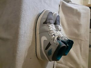 Details about MENS AIR JORDAN 1 MID SHOES SIZE 11.5 WOLF GREY AND TROPICAL TEAL