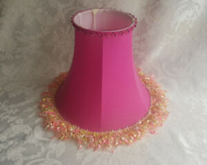 Deep-Pink-Bell-Shaped-Fringe-Design-Fabric-Lamp-Shade-5X10x9-Cage