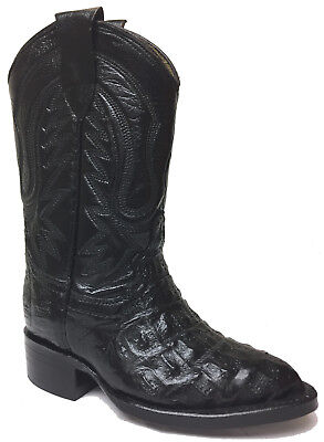 Kids Boys New Leather Crocodile Durable Cowboy Western Boots Square Toe Black