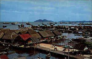 PENANG-Malaysia-Sea-Side-Village-Fisher-Folks-Asien-Asia-Postcard-1960-70