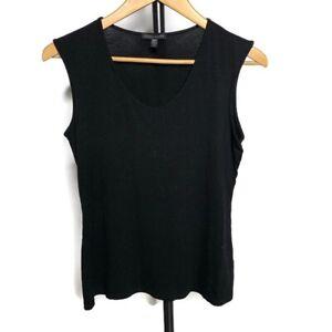 Eileen Fisher Women's Solid Black Sleeveless Scoop Neck Tank Top Shirt, Size S