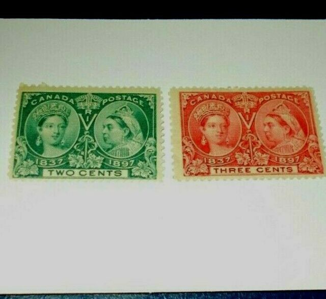 Canada 1897 Queen Victoria Jubilee Stamp Lot SC 52 & 53  Mint Hinged 2 & 3 Cent