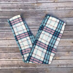 18c911733876d8 Details about Blue Red & White Plaid Women's Leggings Extra Plus Size TC2  18-24 Super Soft
