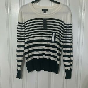 Worthington-Size-Large-Womens-White-Black-Stripe-Round-Neck-Sweater-NWT