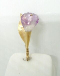 Vintage-14K-Yellow-Gold-Natural-Carved-Raw-Amethyst-Pearl-Poppy-Flower-Iris-Pin