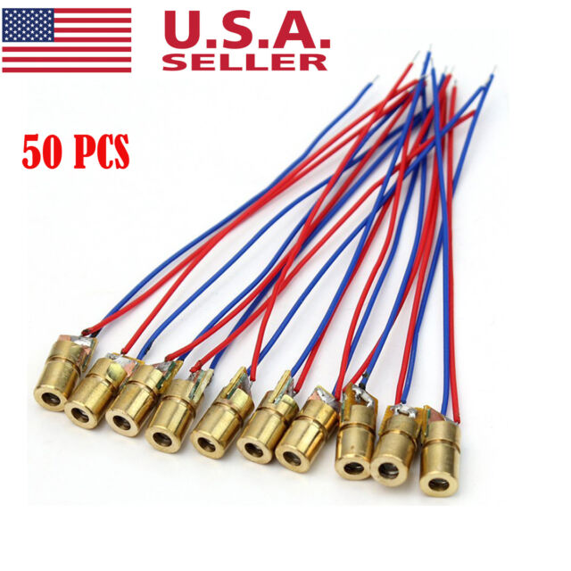 50pcs 3V red laser head laser diode copper tube 650NM 6MM