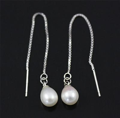 Pretty Pull Through / Threader 925 Sterling Silver & FW Pearl  Dangle Earrings