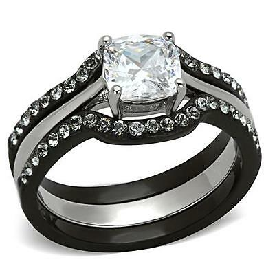 Womens CZ Black Ring Cushion Cut Silver Stainless Steel Wedding Set 5 6 7 8 9 10