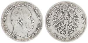 Preusen-2-Marco-1877B-Plata-con-una-Pequena-Aguila-S-Ss