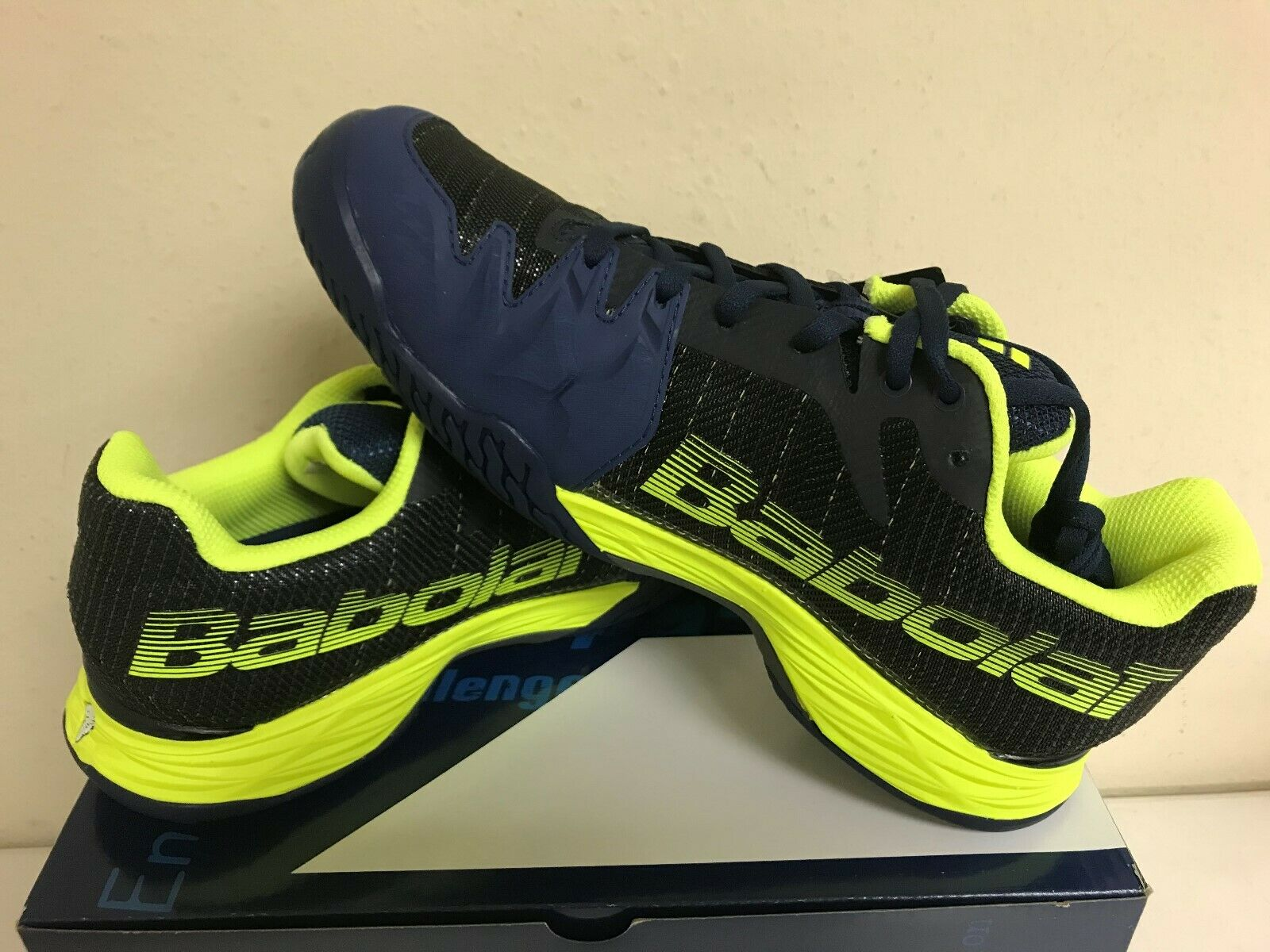 Babolat para hombre Jet Mach II Tribunal Tenis Zapatos todos Azul Amarillo