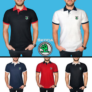 Skoda-Polo-T-Shirt-COTTON-EMBROIDERED-Auto-Car-Logo-Tee-Mens-Clothing-Gift-Him