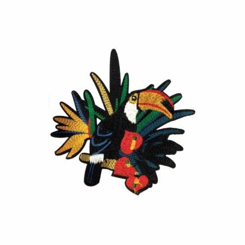 Iron On Embroidery Applique Patch Sew Badge Toucan Bird In Heart Flowers L