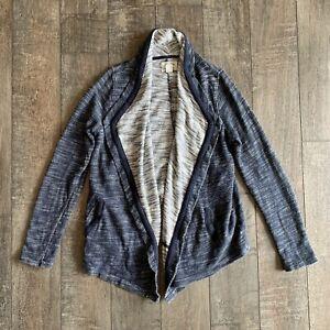 Lucky-Brand-Lucky-Lotus-Women-039-s-Open-Front-Sweater-Waterfall-Drape-Braids-Trim-L