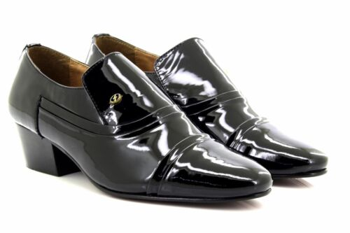 Talon Enfiler Verni Lucini Noir Cubain Chaussures À Cuir Hommes 6SxYnqAaA