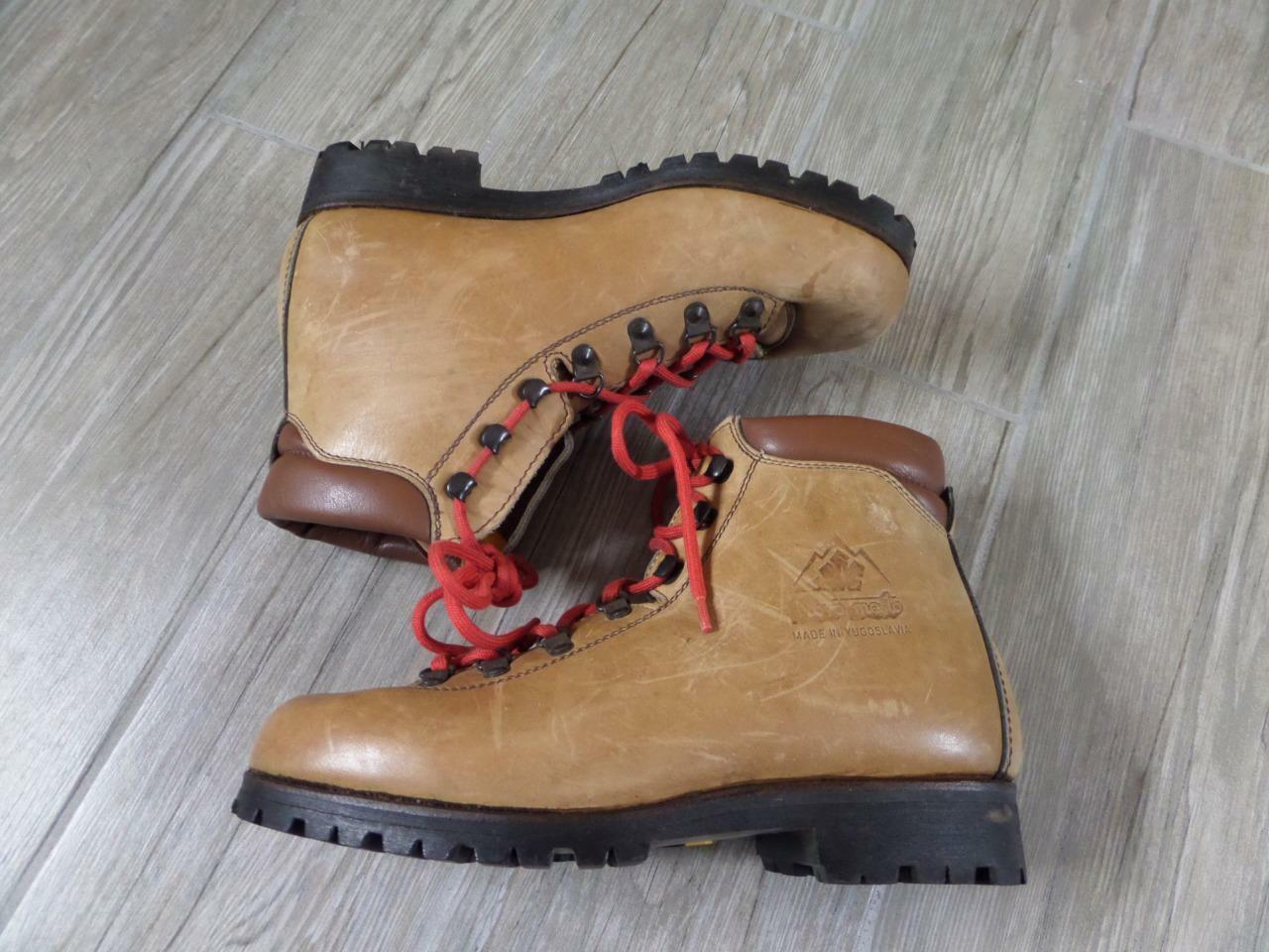Suelas Vibram de cuero para hombre Vintage Montañismo botas 7.5 Senderismo NOVO Mesto