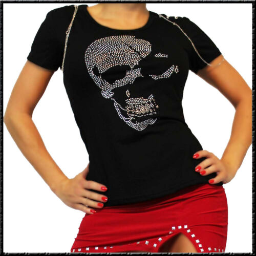 Totenkopf Magic T-Shirt Motorradclub Punk S-L Schwarz Kurzarm deadhead Kette