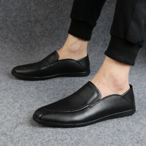 Mens Leather Loafers Moccasin Flats