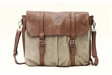 NWT$2995 Brunello Cucinelli Men 100% Leather 2Tone Expandable Logo Messenger Bag