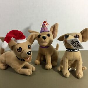 Lot-of-3-Taco-Bell-Chihuahua-Talking-Dogs-Plush-Animal-New-Year-Santa-Lizard