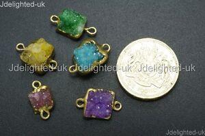 Natural-Druzy-Quartz-Agate-Geode-Connector-Charm-Pendant-Spacer-Beads-18K-Gold