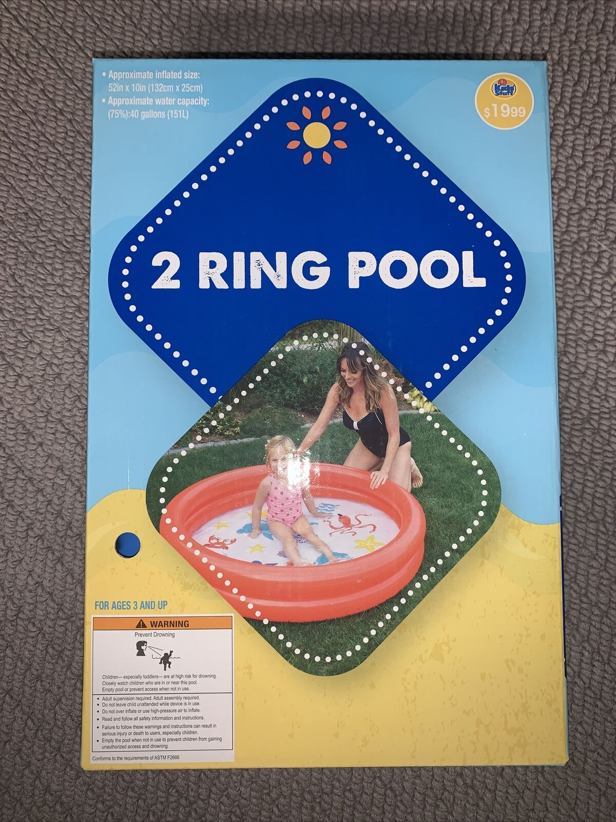 2- Ring Inflatable Blue Pool For Kids!! *FAST SHIPPING*