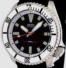 Vintage mens watch SEIKO diver 7002 mod w/CHROME Plongeur hands & SILVER bezel !