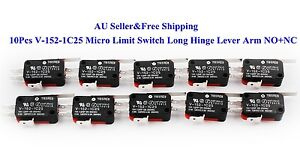 10Pcs-V-152-1C25-Micro-Limit-Switch-Long-Hinge-Lever-Arm-NO-NC-15A-AU-New